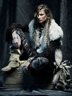 Tribal boho - fur, feathers, fringe, boho jewelry, leather, suede. Love this editorial from Spanish Vogue, Nov. issue.