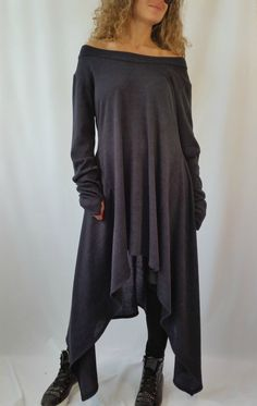 Grey Asymmetrical Sweater Top / Long Sleeve Sweater Dress / Knitwear cotton dress / EXPRESS SHIPPING / MD 10005