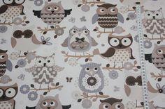 Stoff Eulen - REST 58x155 beschichtete Baumwolle EULE beige grau - ein Designerstück von naehglueck bei DaWanda