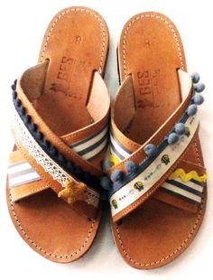 14453cd72 Women boho sandals made in Greece – Flat shoes laces round decorated with  pompom and tassel make cut