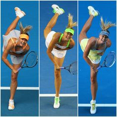 Maria Sharapova showing consistency of her serving technique at the Australian Open in 2011, 2012 and 2013.