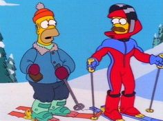 Homer And Ned Skiing