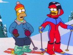 Homer And Ned Skiing Funny Cartoon Characters, Fictional Characters, Tv Funny, Homer Simpson, Skiing, Identity, Airbrush, Ski, Air Brush Machine