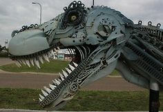 Tyrannosaurus Rex sculpture was created by South Dakota-based cowboy and artist John Lopez using scrap automobile and machine parts