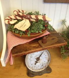 scale & cutting board plus old wooden bowl