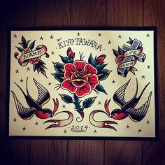 "108 mentions J'aime, 6 commentaires - KIYO TAWARA (@kiyoxmag) sur Instagram: ""#tattooflash #tattoo #flash #art #drawing #painting #traditionaltattoo"""