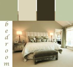 A tranquil green bedroom color scheme. #bedroom #paint #colors
