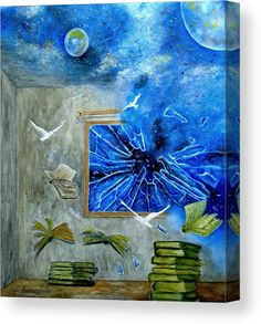 Canvas Print, painting,  surreal,scenes,nightscapes,room,interior,window,broken,glass,shuttered,sky,space,moon,comet,planets,stars,dreamscapes,abandoned,deriliction,building,books,flying,air,breeze,wind,imagination,whimsical,strange,obscure,mystical,mystery,floor,vivid,blue,grey,colorful,shades,contemporary,modern,mystifying,fantasy,in,on,of,at,the,with,decor,original,fine,oil,artworkshand,made,painted,home,hotel,interior,products,items,for sale, fine art america