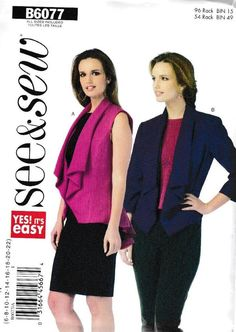 BUTTERICK PATTERN JACKET LOOSE FITTING UNLINED SIZE 8-16 or 16-24 # B6063
