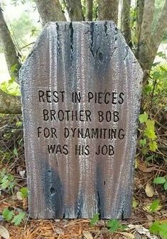 Our tombstones are created from foam. Hand Made Tombstone Halloween Prop. Tombstones For Halloween, Halloween Tombstone Sayings, Outside Halloween Decorations, Haunted Mansion Halloween, Halloween Paper Crafts, Halloween Graveyard, Halloween Prop, Halloween Ideas, Tombstone Designs