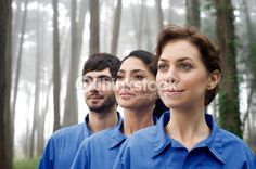 Three people in forest wearing blue uniforms, portrait Portrait Photo, Third, People, Stock Photos, Couple Photos, How To Wear, Blue, Portraits, Image