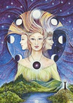 Maiden † Mother † Crone - illustration of cycle of female life with corresponding moon phase