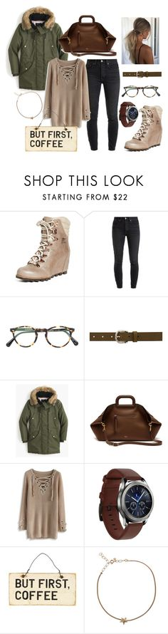 """""""Cozy Sweater"""" by mentionsbymel ❤ liked on Polyvore featuring SOREL, RE/DONE, Oliver Peoples, Isabel Marant, J.Crew, Mulberry, Chicwish, Samsung and Selim Mouzannar"""