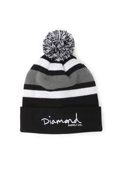 "A PacSun.com Online Exclusive! Diamond Supply Co. uses a simple script knit to create this stylish beanie. The OG Script Pom Beanie comes with a matching pom on top.    Multi color knit beanie    Diamond Supply Co. logo on front    8"" opening    10"" height    Matching pom    Machine washable    100% acrylic    Imported"