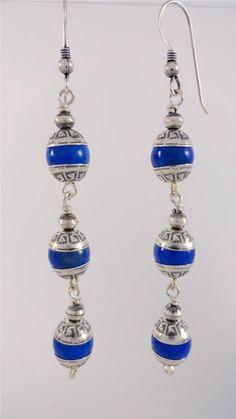 Blue Lapis 3 Tier Dangle Concho SS .925 Hook Navajo Earrings American Indian