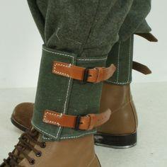 Genuine Danish Army Gaiters Webbing Olive Green Shoe Boot Leg Spats Vintage