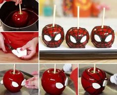 Yummy Homemade Spider-Man Candy Apples Your Kids Will Love Holiday Treats, Halloween Treats, Holiday Recipes, Halloween Apples, Halloween Party, Halloween Spider, Halloween 2014, Yummy Treats, Sweet Treats