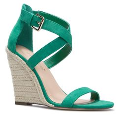 ShoeDazzle Wedge Genova Womens Green ❤ liked on Polyvore featuring shoes, sandals, wedges, heels, green, green sandals, espadrille sandals, party sandals, wedge heel sandals and wedge heel espadrilles