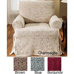 Scroll  Slipcover is a great way to modernize your furniture  Chair slipcover features a lovely damask leaf pattern sure to compliment any decorhttp://www.overstock.com/Home-Garden/Scroll-T-cushion-Chair-Slipcover/3830582/product.html?CID=214117 $27.49