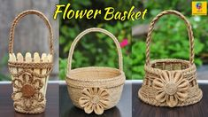 3 Most Beautiful Jute Basket Diy Crafts For Home Decor, Craft Stick Crafts, Crafts To Make, Sisal, Rope Basket, Basket Weaving, Nylon Flowers, Flower Baskets, Paper Flowers Craft