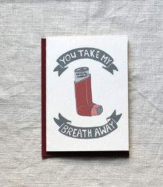 Funny Love Card or Valentine Card: Take My Breath Away by onesharpenedpencil on Etsy, $4.50