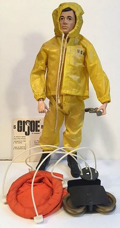 """This set features a yellow slicker marked """"USN"""" with matching yellow slicker pants, pulley hoist, buoy, cable connections, blinker light and flare gun. Childhood Toys, Childhood Memories, Antique Toys, Vintage Toys, Gi Joe 1, Big Blue Whale, 1960s Toys, Top Toys, Classic Toys"""
