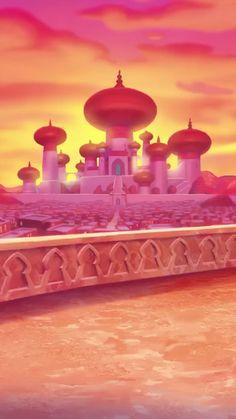 Palace- Palace- East Urban Home Shower Curtain Set + Hooks Size: H x W Harlem Renaissance wedding cake Cute Wallpaper Backgrounds, Disney Wallpaper, Cute Wallpapers, Disney Love, Disney Art, Disney Pixar, Aladdin, Castle Painting, Disney Background