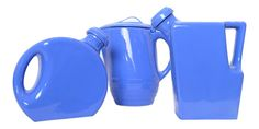 Blue Oxfordware pitchers from the 30's/40's