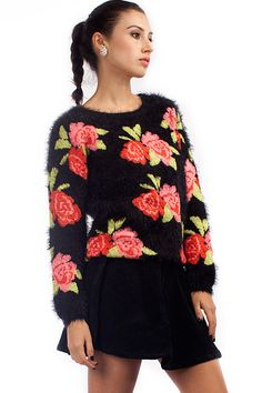 Rose Graphic Sweater, ONLY $32.13 for #Black Friday#. Free Shipping Worldwide
