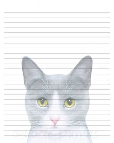 Digital Printable Journal Page Cat 611 grey gray Stationary 8x10 Download Scrapbooking Paper Template art painting L.Dumas by DigitalsbyLucie on Etsy