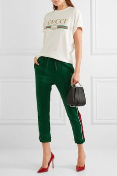 Gucci - Striped Jersey Track Pants - Green - xx large