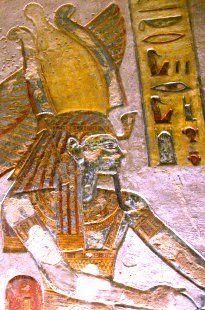 Ramesses III wearing the Atef crown of the god Ra.