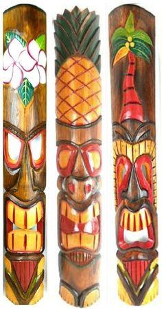 40 In Set of 3 Tribal Polynesian Tiki Bar Turtle Pineapple Design Masks Hand Carved Island tropical Decor Hawaiian Tribal, Hawaiian Tiki, Tiki Totem, Tiki Tiki, Tiki Hut, Tiki Faces, Tiki Statues, Tiki Bar Decor, Tiki Mask