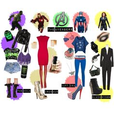 The Avengers  Avengers, hulk, captain america, iron man, natasha romanoff, black widow, american flag, monster, leather, gold boot, studded heels, super hero, gold cuffs, cut off shorts, red dress, jumpsuit, couture, fanny pack, gun ring, toy watch, fringe, patriotic