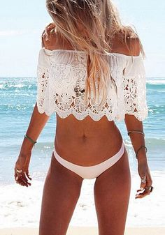 Summer Fashion: Make unforgettable moments this summer in this lace off-shoulder crop top. This belly-baring blouse features an off-shoulder neckline with floral lace overlay and boning structure for support.