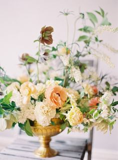 Saipua by Jen Huang Photography (peach, yellow and cream floral arrangement in gold vase) add some coral Yellow Centerpieces, Wedding Centerpieces, Wedding Bouquets, Wedding Decorations, Flower Centrepieces, Rustic Centerpieces, Decor Wedding, Orange Wedding, Floral Wedding