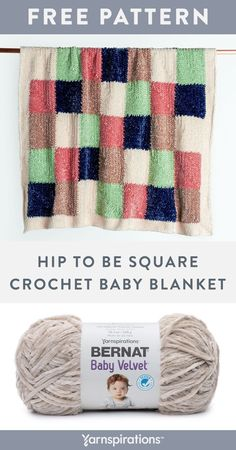 Free Hip To Be Square Crochet Baby Blanket pattern using Bernat Baby Velvet yarn. Random color changes make each square a new adventure, for a lively blanket that's perfect in the nursery or playroom. Created in easy-to-master single crochet stitches, the mitered square motifs work up quickly, one after the other. And best of all, there's no seaming! #Yarnspirations #FreeCrochetPattern #CrochetAfghan #CrochetThrow #CrochetBlanket #MiteredSquares #JAYGO #BernatYarn #BernatVelvet Chunky Crochet, Knit Or Crochet, Crochet Stitches, Free Crochet, Crochet Afghans, Beginner Knitting Patterns, Easy Crochet Patterns, Baby Patterns, Crochet Ideas
