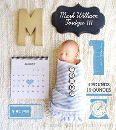 { Newborn Photo Ideas } Cherese Valene Photography  #photography #baby #date #weight #height #mark