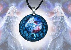 Blue metal pendant  Queen of the stars elf goddess elven art