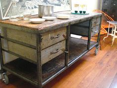 French Industrial ` kitchen Island