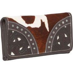 American West Prairie Rose Hair-Flap Wallet (Brown & White hair w/ chocholate American West. $75.65