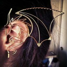 Wire Dragon Ear Wrap in Custom Colors Gold Silver Copper Black Crystal Red Fantasy Jewelry Unisex Serpent SO COOL!