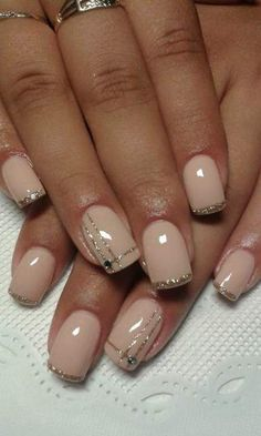 Gel nails ongles gel french, gel nail designs, nude nails, glitter nails, b Fancy Nails, Love Nails, Diy Nails, Pretty Nails, Glitter Nails, Gold Glitter, Acrylic Nail Designs, Nail Art Designs, Acrylic Nails