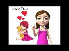 """ASL sign for """"I Love You"""" from My Smart Hands animated video dictionary.  Learn to sign """"I Love You"""" with your baby!"""