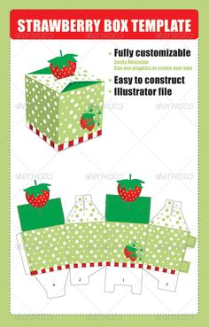Strawberry Box Template - Packaging Print Templates