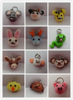 Handmade Chinese Zodiac charms Cute & Unique Zodiac made entirely of polymer clay!! Great for, bracelet, earrings or simply decoration!! 2.50$ per animal. Except the dog and snake for 3.00$ each. ALSO purchase all the zodiac will only be 26$!! Come along with the bracelet at your own size or earrings!!