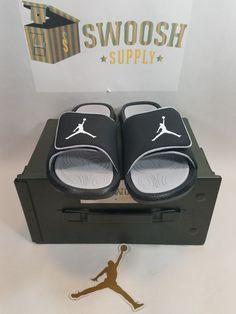 Jordan Hydro 6 Big Kids 881474-011 Black Wolf Grey Logo Slide Sandals Size  7Y  Jordan  Sandals 4dd26b9e3