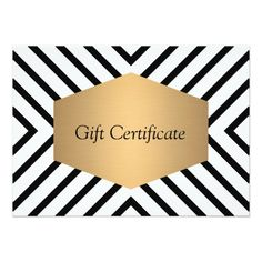 Customizable gift certificate cards for salons and boutiques. Comes with standard white envelope. Matching business cards, rack cards and stationery available. Personalize today - fast shipping. Designed by 1201AM Paper Goods.