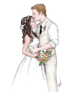 Custom portrait gift unique anniversary gift by blusheddesign wedding art в Wedding Drawing, Wedding Dress Sketches, Wedding Art, Wedding Images, Wedding Gifts, Image Nature Fleurs, Unique Anniversary Gifts, Paper Anniversary, Anniversary Ideas