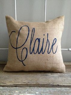 Burlap Pillow - Personalized - Name, Monogram, or Initial - Custom Made to Order on Etsy, $30.00